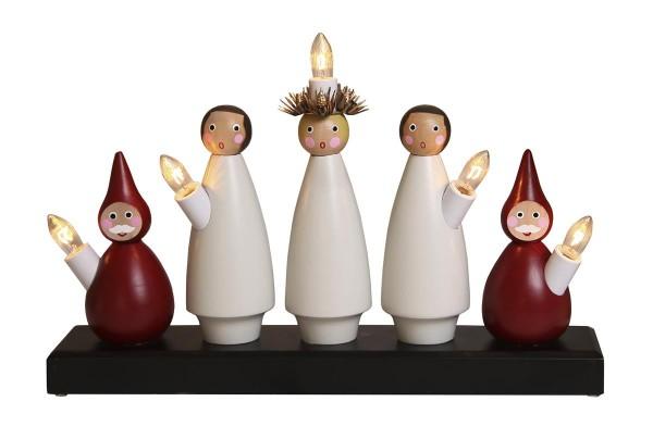 """Fensterleuchter """"Lucia Chor"""" - 5flammig - warmweiße Glühlampen - H: 22cm, L. 33cm - Weiß/Rot"""