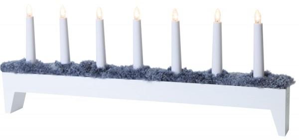 "LED Kerzenleuchter ""Svenljunga"" - 7flammig - warmweiße LEDs - H: 26cm, L: 66cm - weiß/grau"