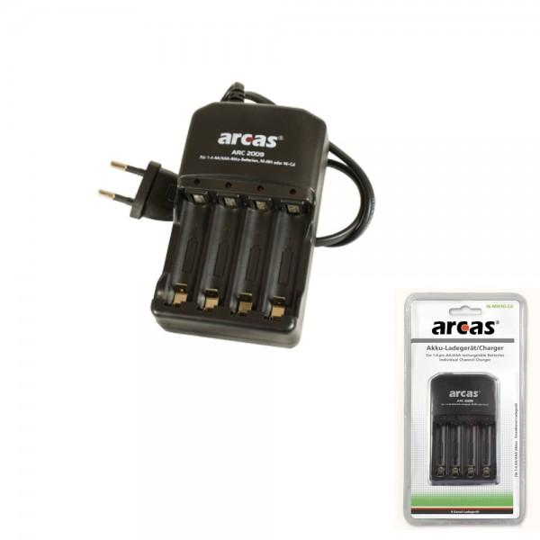 """Batterie Ladegerät ARCAS """"ARC-2009"""" - bis zu 4 Zellen AA oder AAA - Einzelkanalladung"""